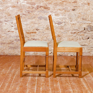 Pair 0f Peter Hall Arts & Crafts Lakes School English Oak Chairs