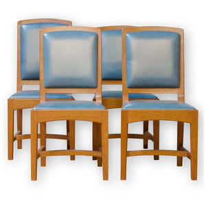 4 Peter Hall Arts & Crafts Cotswold School English Oak & Leather 'Oxford' Chairs