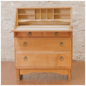 Reynolds of Ludlow Arts & Crafts Cotswold School Light Oak Bureau c. 1955