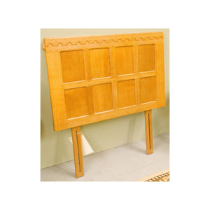 Robert 'Mouseman' Thompson Robert 'Mouseman' Thompson Arts and Crafts Blond Oak 3ft Single Headboard