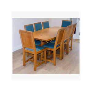Robert 'Mouseman' Thompson Robert 'Mouseman' Thompson Handmade Custom Oak 6ft Table with 8 Chairs C.1960 c.1960