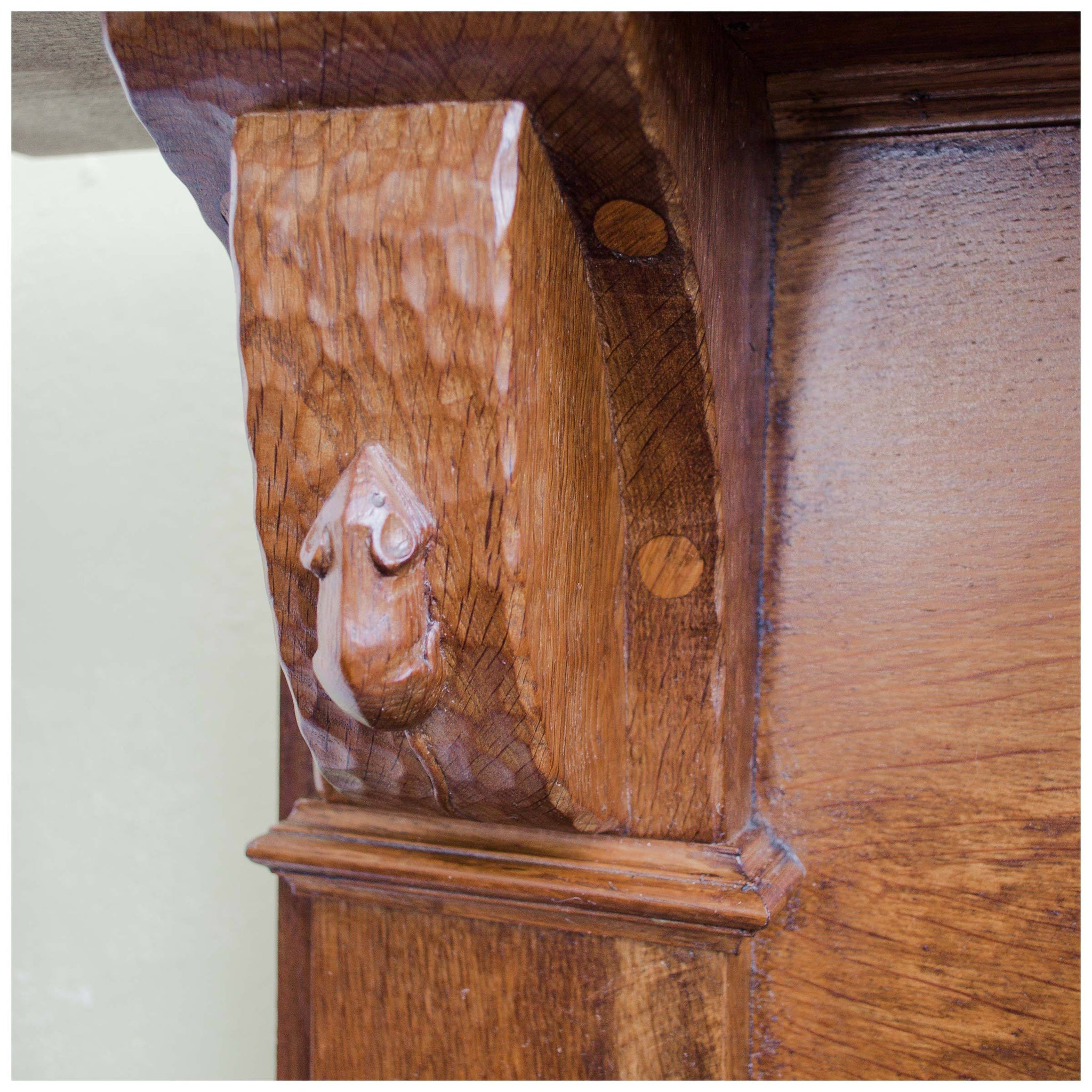 Carved wooden oak mouse furniture,fire surrounds ideal for oak tables,chairs