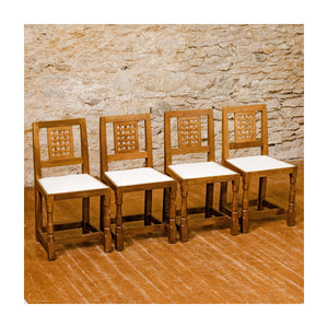 Set of 4 Robert Mouseman Thompson Arts & Crafts Yorkshire School Oak Chairs