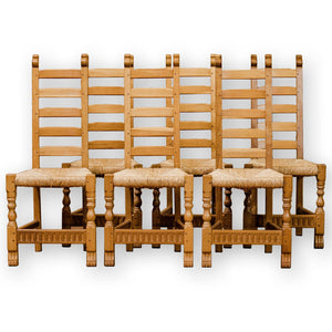 Set of 6 Rupert Griffiths Arts & Crafts Gothic School English Oak Dining Chairs
