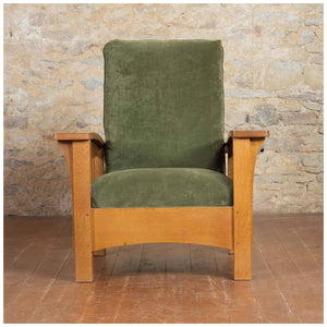 Stickley Arts & Crafts Mission School Oak Bow Arm Morris Chair 2006