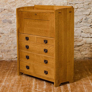 Stickley Arts & Crafts Mission School Quarter-sawn Oak Fall Front Bureau