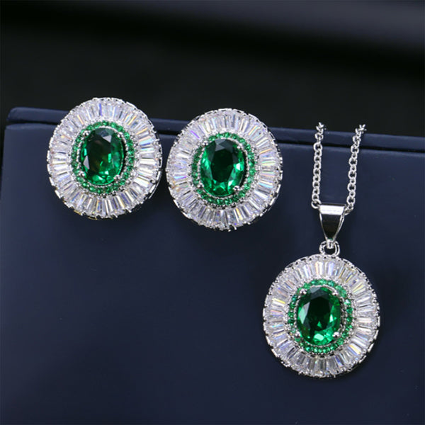 Stud Earrings Necklace Sets White Gold Plated AAA Cubic Zirconia Vintage Oval Jewelry