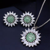 Stud Earrings Necklace Sets White Gold Plated AAA Cubic Zirconia Vintage Sunflower Jewelry