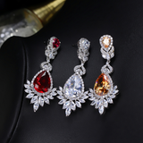White Gold Plated Crystal and Cubic Zirconia Ear Stud Earrings