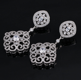White Gold Plated AAA Cubic Zirconia Ear Stud Earrings
