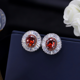 White Gold Plated Crystal Ear Stud Earrings