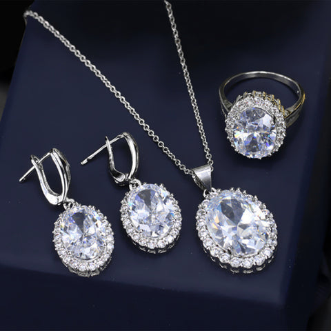 Earrings Ring Necklace Sets White Gold Plated AAA Cubic Zirconia Vintage Jewelry