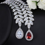 Necklace and Stud Earrings Sets White Gold Plated AAA Cubic Zirconia Vintage Jewelry