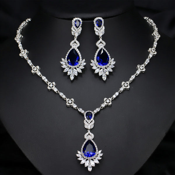 Stud Earrings Necklace Sets White Gold Plated AAA Cubic Zirconia Vintage Jewelry