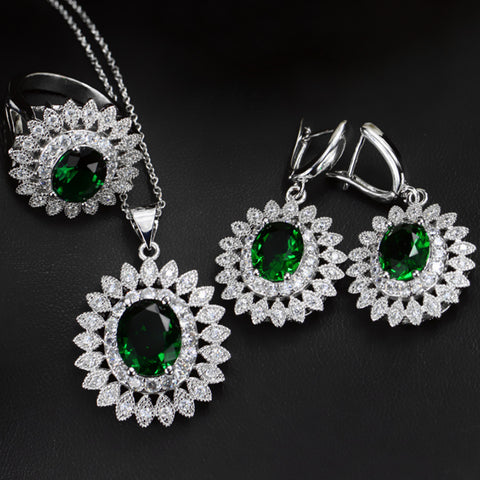 Necklace and Ring Earrings Sets White Gold Plated AAA Cubic Zirconia Vintage Oval