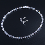 Stud Earrings Necklace Sets White Gold Plated AAA Cubic Zirconia Classic Jewelry
