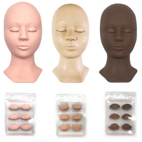 Eyelash Extensions Mannequin and Eyelids Training Combo Pack (one head + eyes)