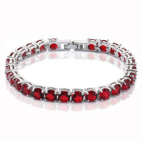 White Gold Plated Red Crystal Bracelet Width 6MM