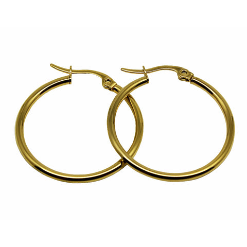 Gold Plated High Quality Titanium Stainless Steel Hoop Earrings Diameter 12MM to 100MM