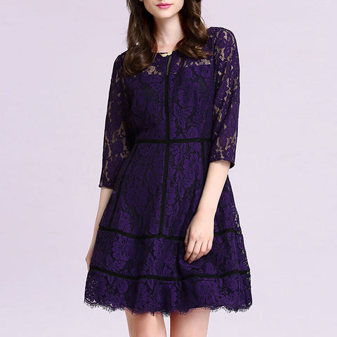 2018 Elegant Lace Women Dress Celebrity Party O Neck Long Sleeve