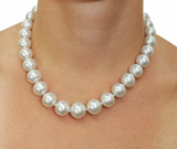 10-11mm AAAA Quality White Cultured Pearl Necklace with 14K Gold Clasp