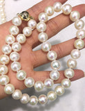 AAAA Quality Magnic Clasp 11-12mm Cultured Pearl Necklace with 18K Gold Plated 925 Sterling Silver