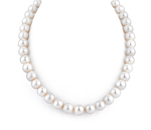 9-10mm AAAA Quality White Cultured Pearl Necklace with 14K Gold Clasp
