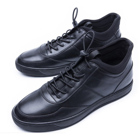 Men's Fashion High Top Classic Genuine Leather Shoes Walking Casual Lace Up Sneaker