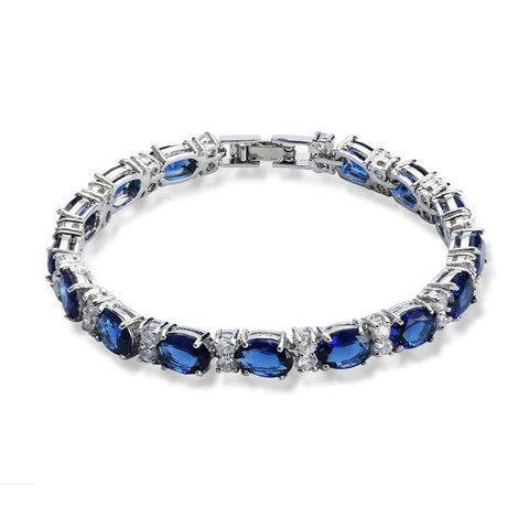 White Gold Plated Crystal Bracelet Blue Red Green Black Width 6MM