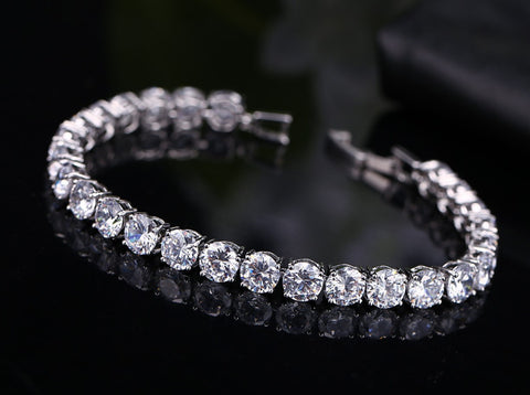 White Gold Plated Crystal Bracelet Width 6mm