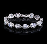 White Gold Plated Crystal Bracelet Width 9mm