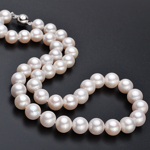 AAAA Quality Magnic Clasp 10-11mm Cultured Pearl Necklace with 18K Gold Plated 925 Sterling Silver