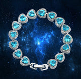 My Sweetheart White Gold Plate Crystal Bracelet Red/Blue