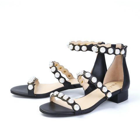 Pearl Open Toe Sandals Low Heels
