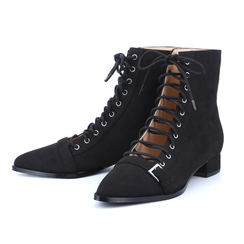 Ladies Lacing Ankle Boots Low Heels