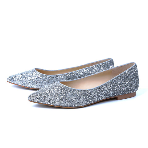 Glitter Pointed-Toe Flats