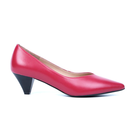 V Shape Pointed-Toe 4CM Heels Genuine Leather