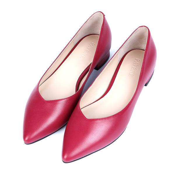 V Shape Pointed Toe Classic Slip On Flats Genuine Leather