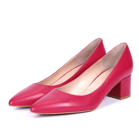 Genuine Leather Pointed Toe 5CM Chunky Heels