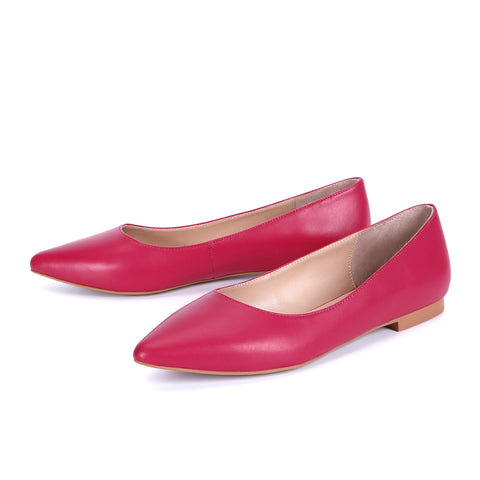 Genuine Leather Pointed Toe Classic Slip On Flats