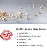 Luxury 14K Gold O Chain 9-13mm AAAA Quality Round White Cultured Pearl Necklace