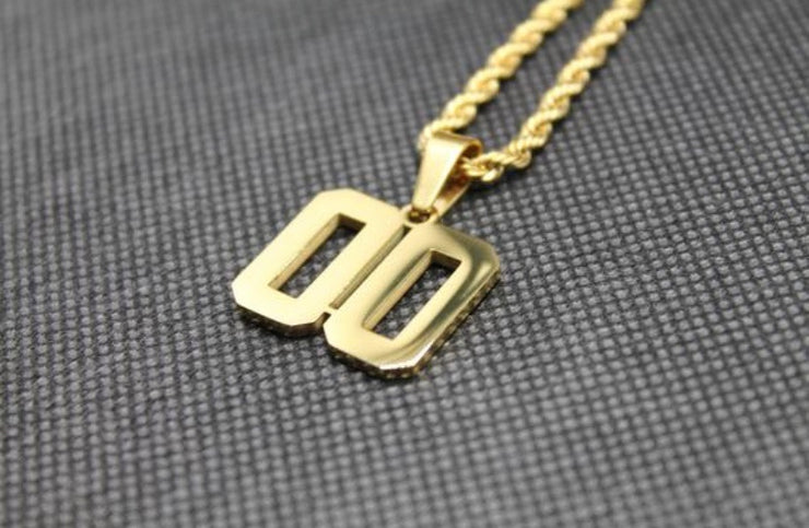 Number Pendant 1-50 GOLD w/Chain