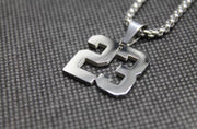 Number Pendant 1-50 SILVER with Chain