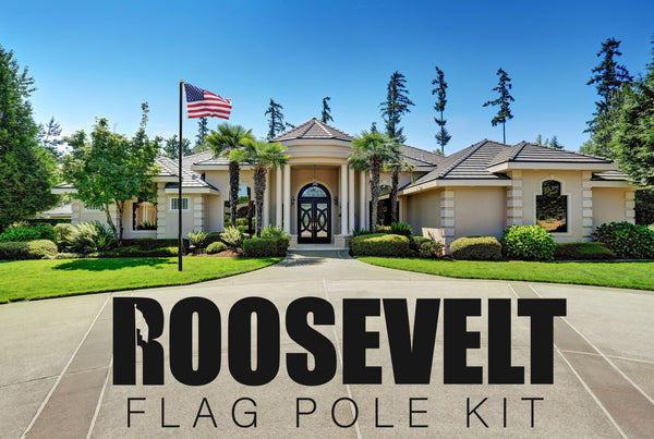 Stand Roosevelt Premium 25ft Telescoping Flag Pole Kit, Thick 14-Gauge Black Anodized Aluminum for Extra Strength, 4'x6' USA Flag, Lifetime Warranty