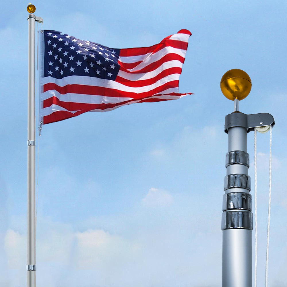 Stand 20FT Telescoping Flag Pole Kit, Thick 16-Gauge Aluminum, 3x5 American Flag, Gold Ball, For Residential or Commercial Use, Fly 2 Flags at Once