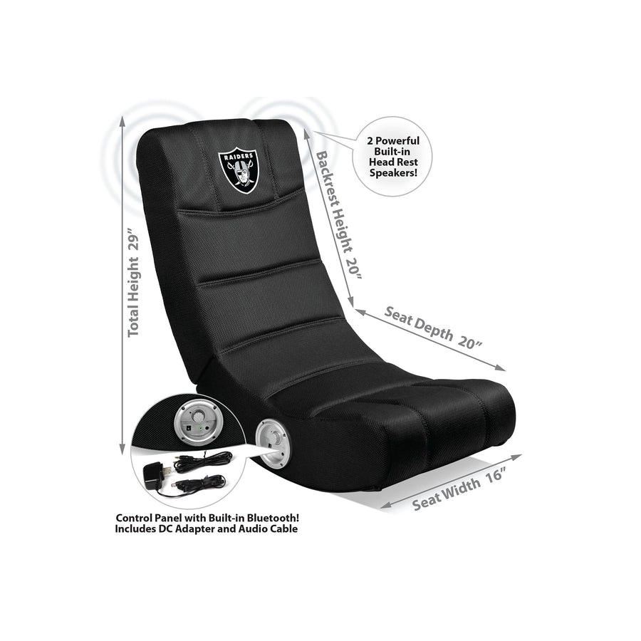 Oakland Raiders Bluetooth Rocker Gaming Chair - Racer Gaming Chairs