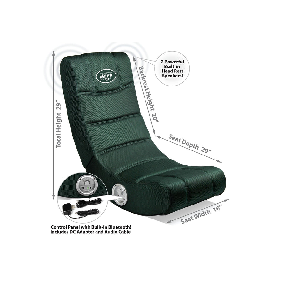 New York Jets Bluetooth Rocker Gaming Chair - Racer Gaming Chairs