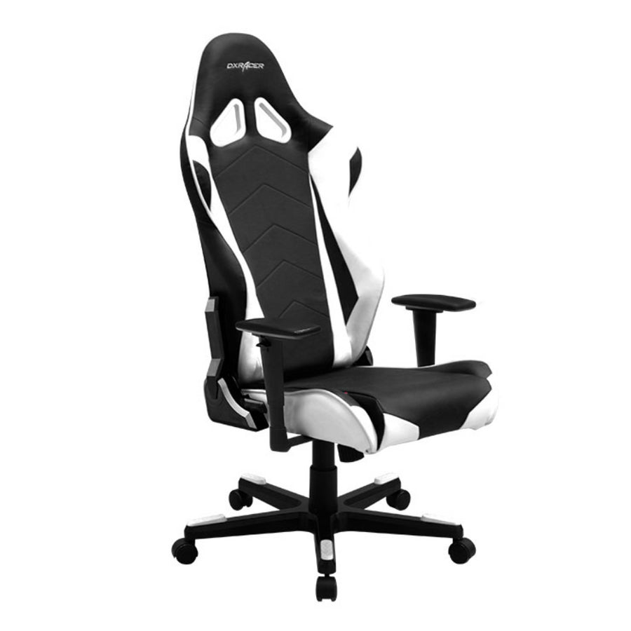 DXRacer OH/RE0/NW Black/White Racing Series Gaming Chair - Racer Gaming Chairs