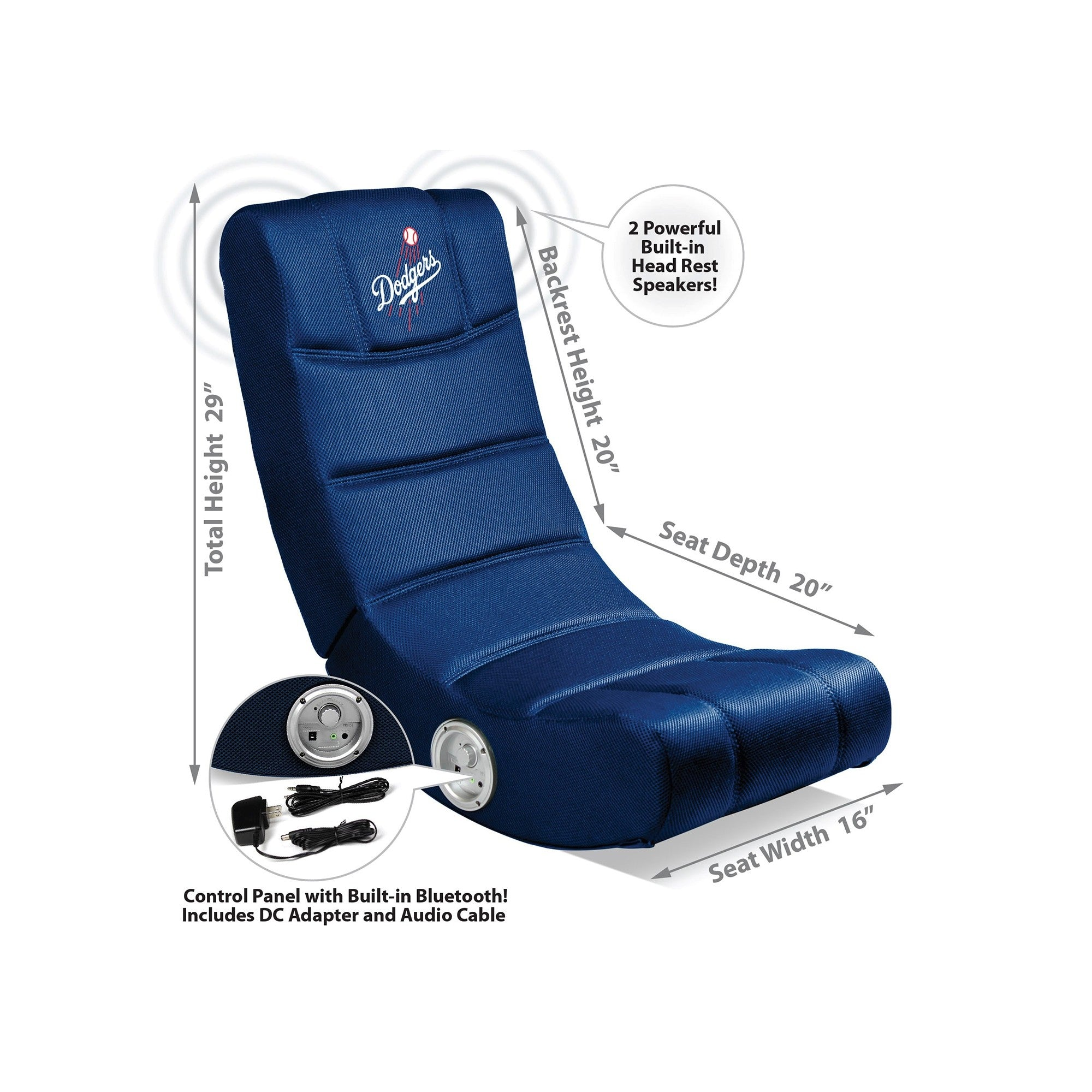 Los Angeles Dodgers Bluetooth Rocker Gaming Chair   Racer Gaming Chairs