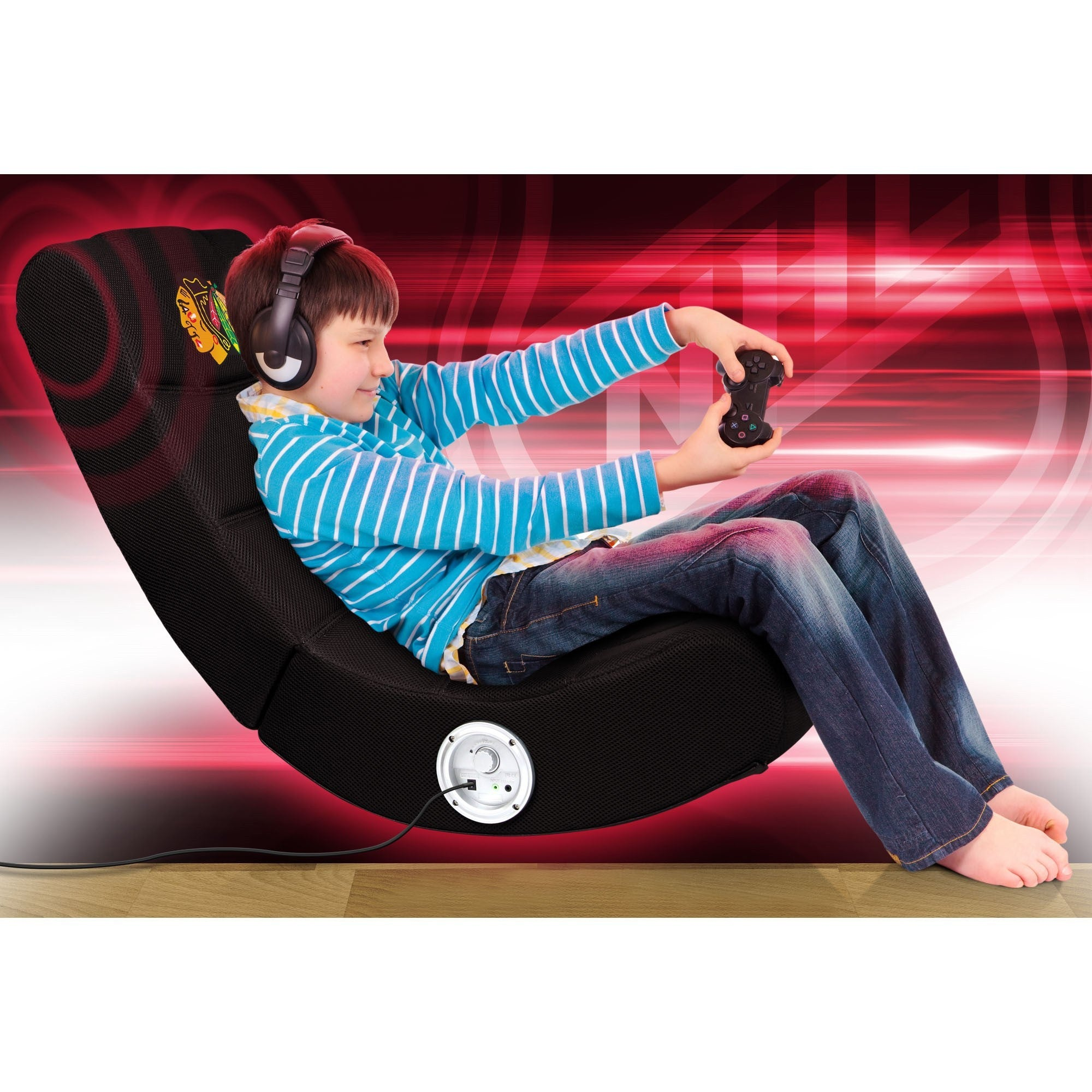 Chicago Blackhawks Bluetooth Rocker Gaming Chair   Racer Gaming Chairs
